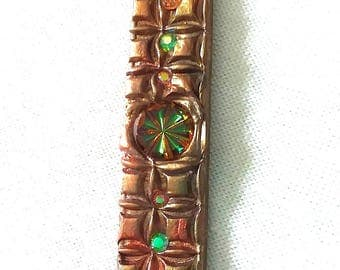 Vintage Carved Glass, Green, Amber, Bronze, Mosaic Pendant, PA-97