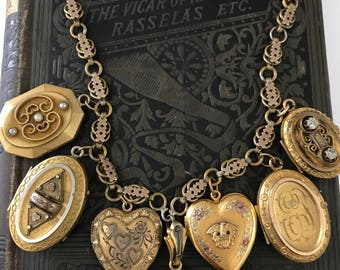 Stunning Antique Mourning Locket Necklace // Gold Filled Locket Necklace // Heart Locket // Etruscan Locket // Paste Locke