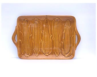 Vintage California Pottery -- Mid Century Tray -- Vintage Corn Tray -- Corn Tray -- Summer Tray -- Country Decor -- California Pottery Dish