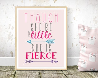 Though She Be But Little, She Is Fierce Wall Art, Baby Girl Nursery Decor, Pink, Playroom Art, Baby Shower Gift, Shakespeare quote, fierce