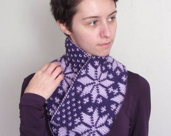 Reversible Double Knit Cowl - Fair Isle Snowflake