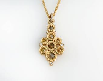 Yellow diamond pendant, Unique diamond necklace, Diamond necklace, Rose cut diamond pendant, Yellow gold diamond necklace, Rose cut jewelry