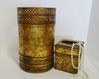 Vintage Gold Trash Can and Tissue Box Metal Hollywood Regency Baroque Marble Look Cutout Metal Matching 2pc Set Wastebasket Kleenex Holder