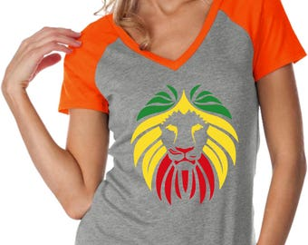 Ladies Rasta Lion Head Contrast V-Neck Shirt LIONHEAD-WJP0567