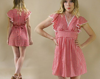 Vintage 1970s Cotton Gingham, Checkered Mini Dress in Red & White with Ruffled Sleeves
