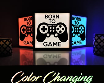 Born to Game, Video Game Decor, Gaming Light, Video Game Sign, Playstation, Video Game Lamp, Personalized Gaming Sign, Game Room Decor