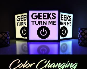 Geek Decor, Geeks Turn me On, Computer Decor, Power Button On, Computer Geek, Video Game Sign, Video Game Decor, Gamer Geek, Geek