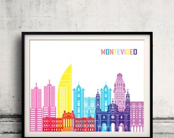 Montevideo skyline pop - Fine Art Print Glicee Poster Gift Illustration Pop Art Colorful Landmarks - SKU 2377