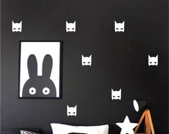 Batman mask wall decals, Superhero, Bat mask wall stickers, Batman bedroom, Super hero  wall decor, Vinyl decal, Batman nursery, Boy room,