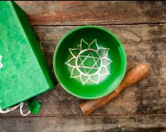 Tibetan Singing Bowl/Singing Bowl/ Crystal Singing Bowl/ Heart Chakra Singing Bowl/ Hand Painted Singing Bowl