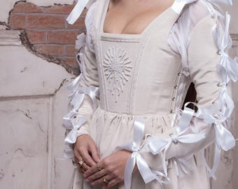 Renaissance Silver Pearl Dress, 1490s Pearl Gown