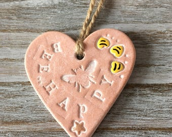 Bee happy - bumble bee clay heart with stripy bee hearts - perfect gift door or wall hanging, small gift, gift tag