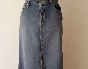Calvin klein maxi skirt, M, L, denim maxi skirt, vintage denim skirt, denim skirt, vintage CK, vintage 80's, vintage 90's