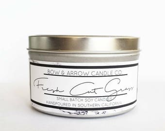 8 oz Natural Soy Candle Fresh Cut Grass Scented | 8 oz Tin Candle | Grass Soy Candle | Scented Soy Candle | Soy Candle| Masculine Soy Candle