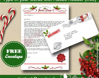 Letter from Santa with envelope - Template letter - EDITABLE & PRINTABLE - Instant Download - DIY