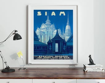 Siam Travel Poster Thailand Travel Poster Bangkok wall Art Bangkok Poster Eastern Blue Wall Art (Sizes up to 50cm x 70cm)