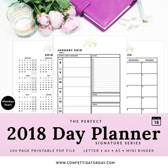 Day Planner Dated 2018 Printable A4 Letter Mini
