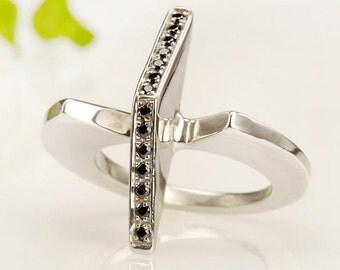 14K White Gold Ring, Black diamond Ring, Women Black diamond Ring, Unique Women's Ring, Promise Ring, Alternative Ring, Woman Gift,  RS-1038