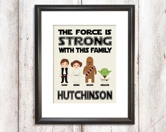 Dad Valentines Day, The force is strong with this family, Husband Valentines, Star Wars Valentine's Day, Star Wars Gift Dad, Dad Star Wars