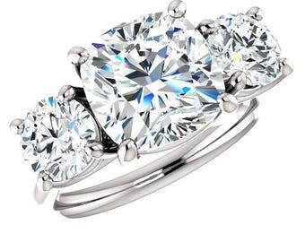 3.50 Carat Cushion Forever One Moissanite & Round Moissanite Three Stone Engagement Ring 14k, 18k or Platinum Anniversary Rings Custom Rings