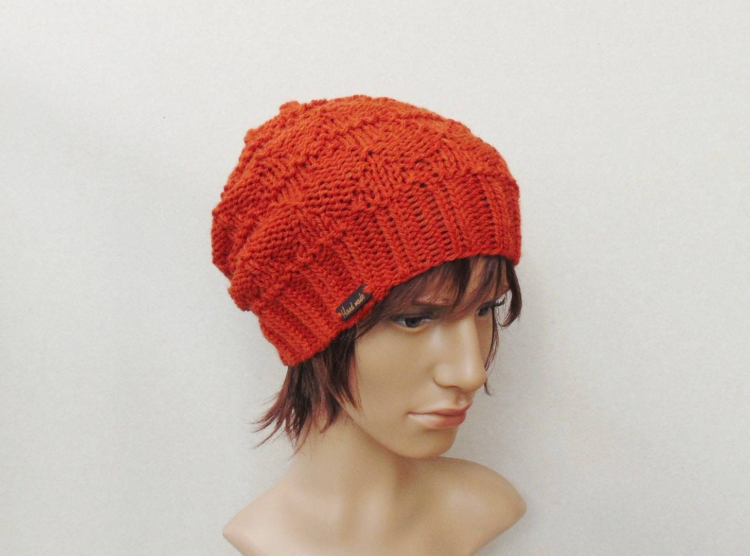 Mens Knitted Slouchy Beanie Parchmentnlead