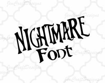 Nightmare Christmas SVG Font, Digital Alphabet, SVG Letters,Svg Dxf Eps Cricut Design Space, Silhouette, Digital Cut Files
