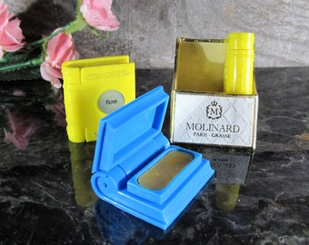 Rare Molinard Paris Grasse, Solid Perfume, Concerta, Set of (3) in Original Container, 2 Un-Used 1930's Bakelite Books, French Wax Perfume