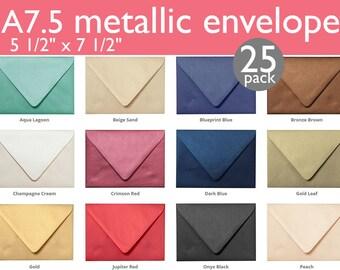 """Outer A-7.5 Metallic Euro Flap Envelopes (5 1/2"""" x 7 1/2"""") (25 Envelopes)"""