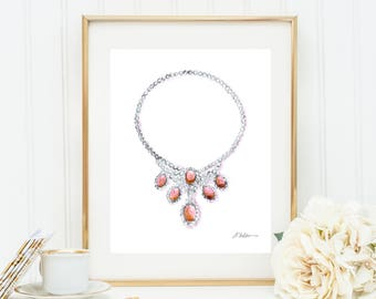 Watercolor Necklace Rendering with Diamonds and Coral printed on Paper