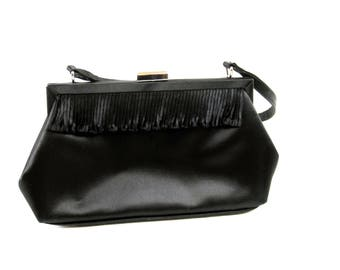 Black Satin La Regale Evening Bag , Black Evening Handbag, Evening Purse With Strap, Circa 1980s