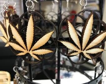 Cannabis Seed of Life Wood Earrings - Flower of Life - Marijuana Leaf - Birch - Wood Cut