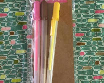 Gel Pens Hot Pink, Yellow, Brown - Set of 3
