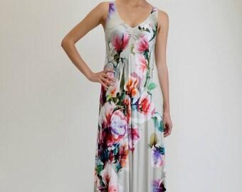Floral Maxi Dress, Long Floral Dress, Boho Maxi Dress, Tank Dress, Digital Print Dress, Loose Dress, Open Back Dress, Sexy Dress, Day Dress