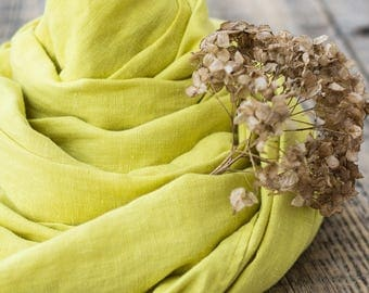 Natural linen scarf, Yellow scarf, Handmade scarf, Softened linen, Summer wrap, Linen accessory, Inspirational womens gift