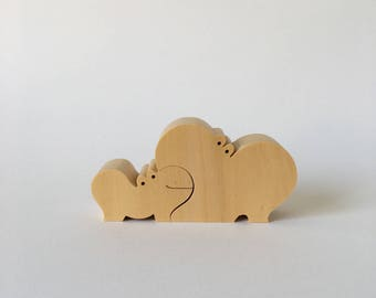 NAEF Wooden Toys - Sabu Oguro Animal Puzzle Hippos in original Box - Perfect Gift