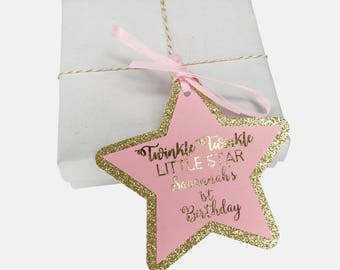 Twinkle Twinkle Little Star Thank You Tag, Light Pink and Gold Glitter , First Birthday Birthday Favor Tags, Gift Tags, Real Metallic Font