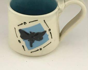 Valentine  Dragonfly Pottery Coffee Mug - Turquoise and White - Pottery Coffee Mug - Ceramic Mug - Oversized Mug - Handmade Mug