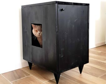 Cat Litter Box Cover, Pet Furniture, Cat House, Modern Litter Box Cabinet  Made