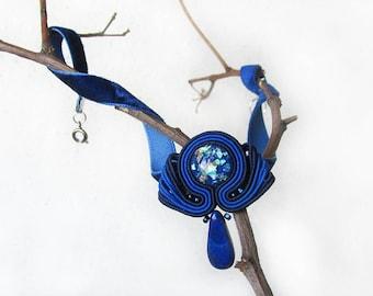 Blue choker Blue necklace Velvet choker Soutache necklace Boho choker necklace Bridesmaid choker Trendy 90s chokers for women Gift for lady