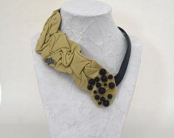 Yellow recycled leather necklace