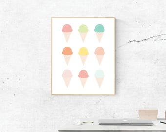 Ice Cream Cones, Digital Print, Ice Cream Cones Art, Ice Cream Cones Art, Digital Download, Ice Cream Wall Art, Wall Prints, Printable Art