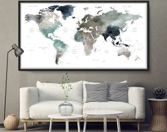 World Map Watercolor Art,Large World Map,World Map Wall Art,World Map Push Pin,World Map Poster,World Map Art Print,World Map (L164)