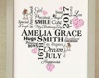 Christening Personalised Print Word Art Gift Boy Girl Special UNFRAMED Card P29