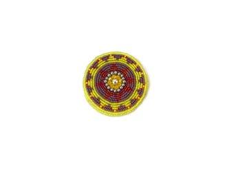 Beaded Medallion Gul i Peron Ethnic Beadwork Gul-i-peron Afghani Beadwork Tribal Disk Tribal Beadwork Kuchi Accessories Tribal Talisman
