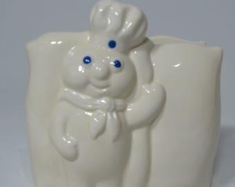 Pillsbury Doughboy Napkin Holder, Vintage Pillsbury Doughboy, Napkin Holder, Pillsbury Doughboy, White Napkin Holder, Collectible