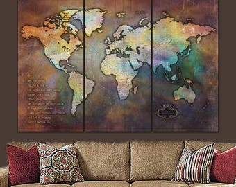Push Pin Antique 3 Panel Collage World Travel Map, Large Wall Art, World Map Art, Travel Gift, Push Pin Map art, Personalized Gifts
