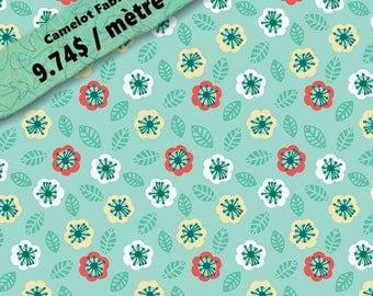Jungle, floral, aqua, 9140504, col 01, Camelot Fabrics, multiple quantity cut in one piece, 100% Cotton, Spécial au mètre