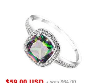 Mystic Topaz Ring Mystic Topaz Engagement Ring Topaz Promise Ring for Her Halo Engagement Ring Princess Cut Ring Topaz Wedding Ring CZ Ring