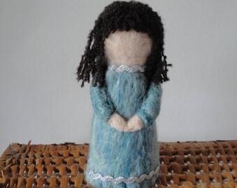 felt angel ornament, holiday decoration, sparkly blue angel, angel figure, holiday gift, posh felt angel, aqua blue felt angel, demure angel