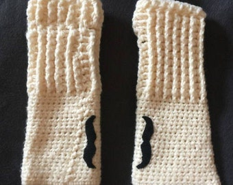 Mustache mitts, whimsical armwarmers, fingerless mittens, crocheted gloves with mustache, mustache armwarmers, gloves with mustache, gloves